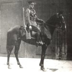 Mr W F B Palmer on his own horse in Dorset Yeomanry going to World War 1